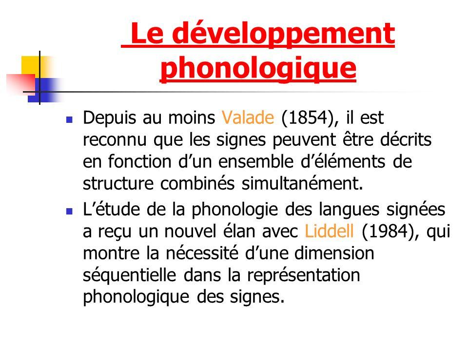 Depuis au moins Valade (1854), il est reconnu que les signes peuvent être décrits en fonction dun ensemble déléments de structure combinés simultanéme