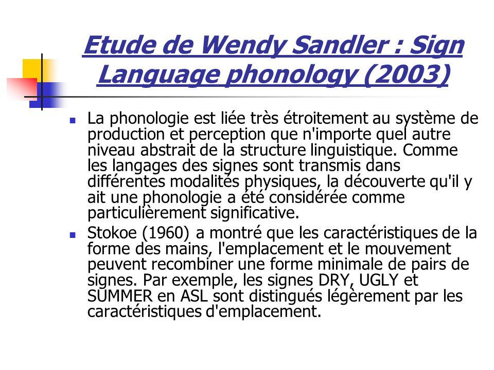 Etude de Wendy Sandler : Sign Language phonology (2003) La phonologie est liée très étroitement au système de production et perception que n importe quel autre niveau abstrait de la structure linguistique.