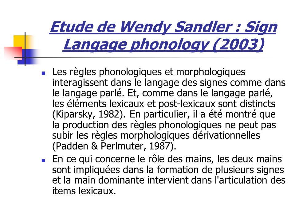 Les règles phonologiques et morphologiques interagissent dans le langage des signes comme dans le langage parlé. Et, comme dans le langage parlé, les