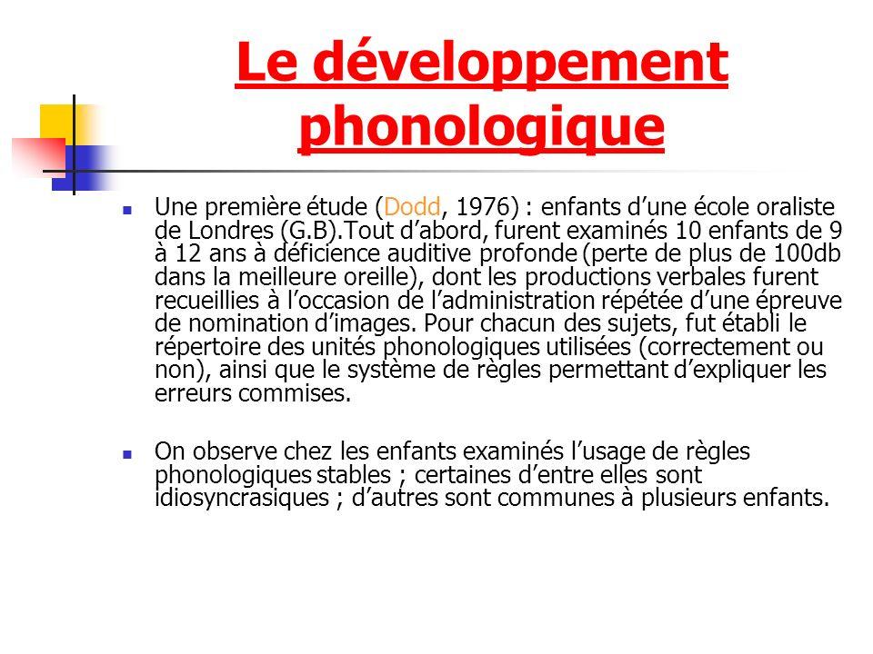 Le développement phonologique Une première étude (Dodd, 1976) : enfants dune école oraliste de Londres (G.B).Tout dabord, furent examinés 10 enfants de 9 à 12 ans à déficience auditive profonde (perte de plus de 100db dans la meilleure oreille), dont les productions verbales furent recueillies à loccasion de ladministration répétée dune épreuve de nomination dimages.