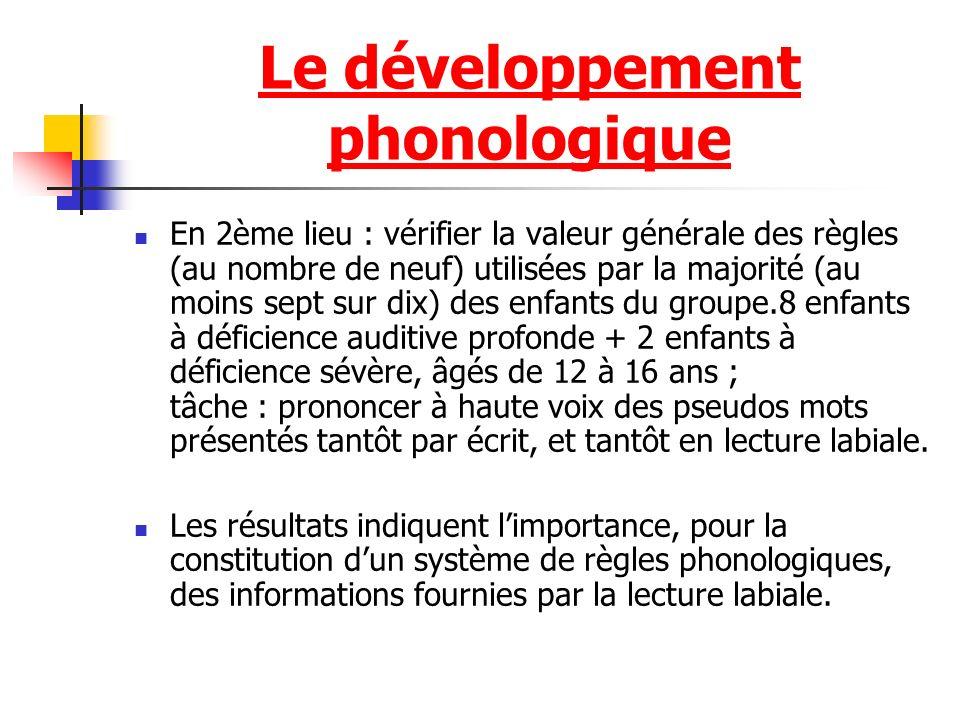 Le développement phonologique En 2ème lieu : vérifier la valeur générale des règles (au nombre de neuf) utilisées par la majorité (au moins sept sur d