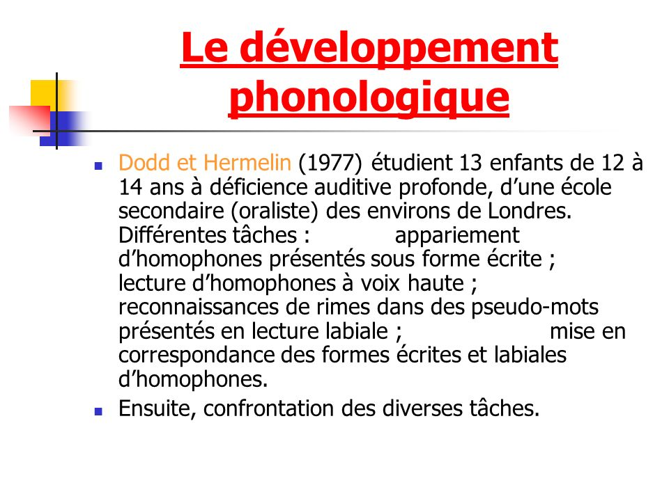 Le développement phonologique Dodd et Hermelin (1977) étudient 13 enfants de 12 à 14 ans à déficience auditive profonde, dune école secondaire (oraliste) des environs de Londres.
