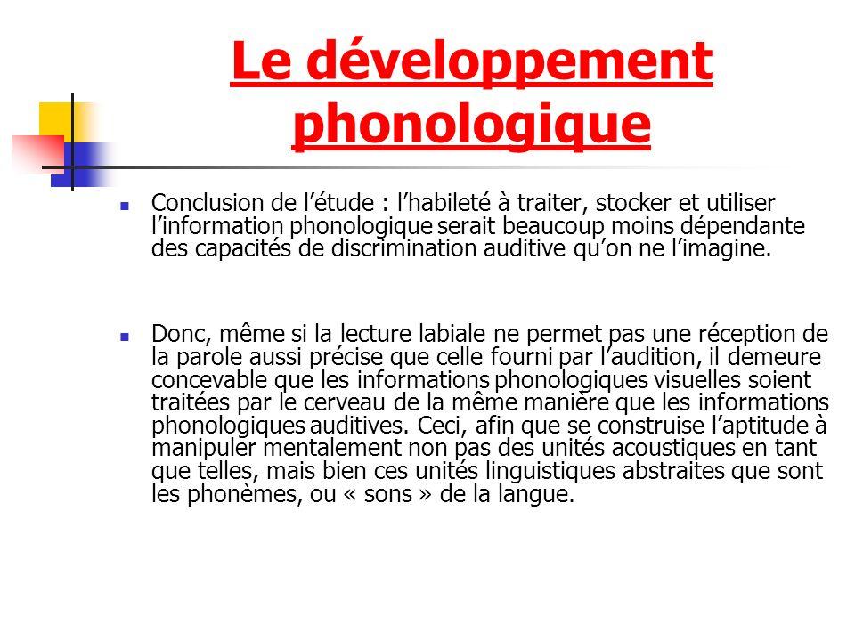 Le développement phonologique Conclusion de létude : lhabileté à traiter, stocker et utiliser linformation phonologique serait beaucoup moins dépendante des capacités de discrimination auditive quon ne limagine.