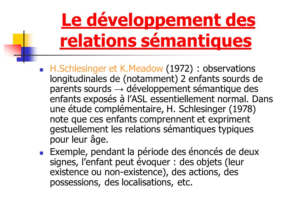 H.Schlesinger et K.Meadow (1972) : observations longitudinales de (notamment) 2 enfants sourds de parents sourds développement sémantique des enfants