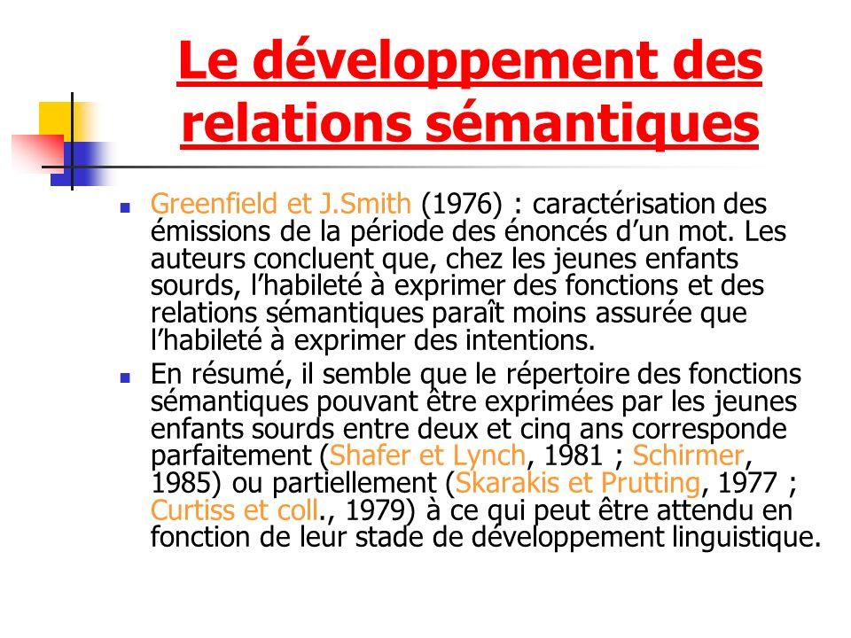 Le développement des relations sémantiques Greenfield et J.Smith (1976) : caractérisation des émissions de la période des énoncés dun mot.