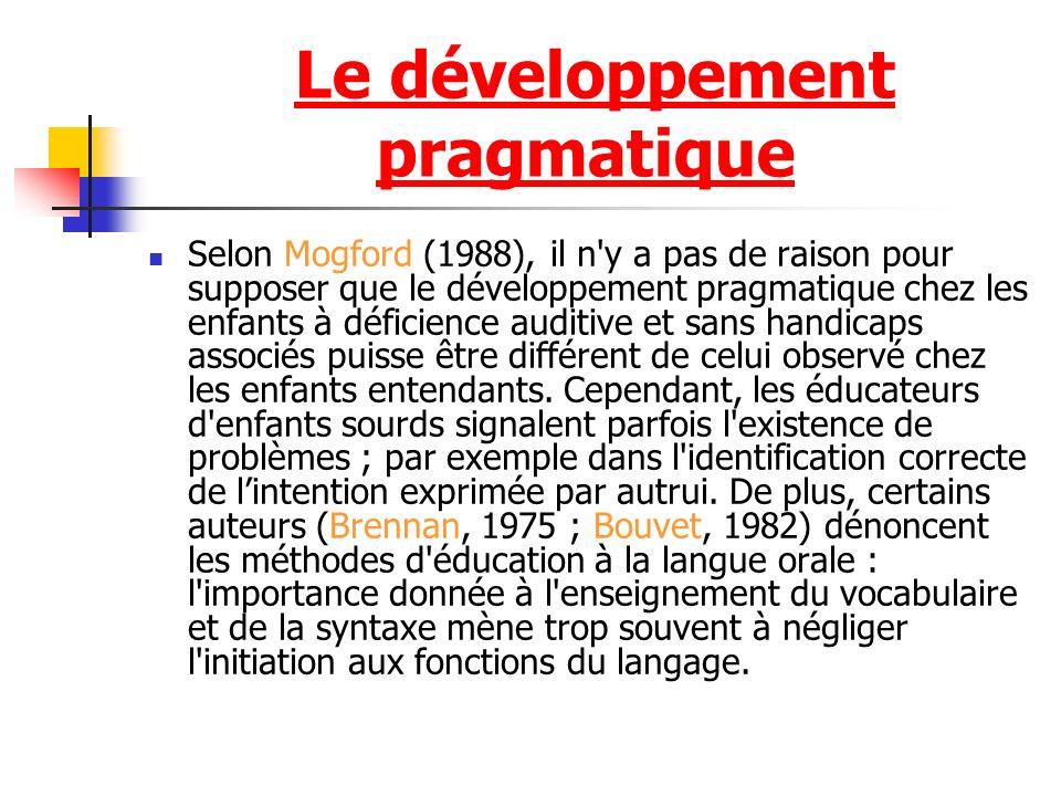Selon Mogford (1988), il n y a pas de raison pour supposer que le développement pragmatique chez les enfants à déficience auditive et sans handicaps associés puisse être différent de celui observé chez les enfants entendants.