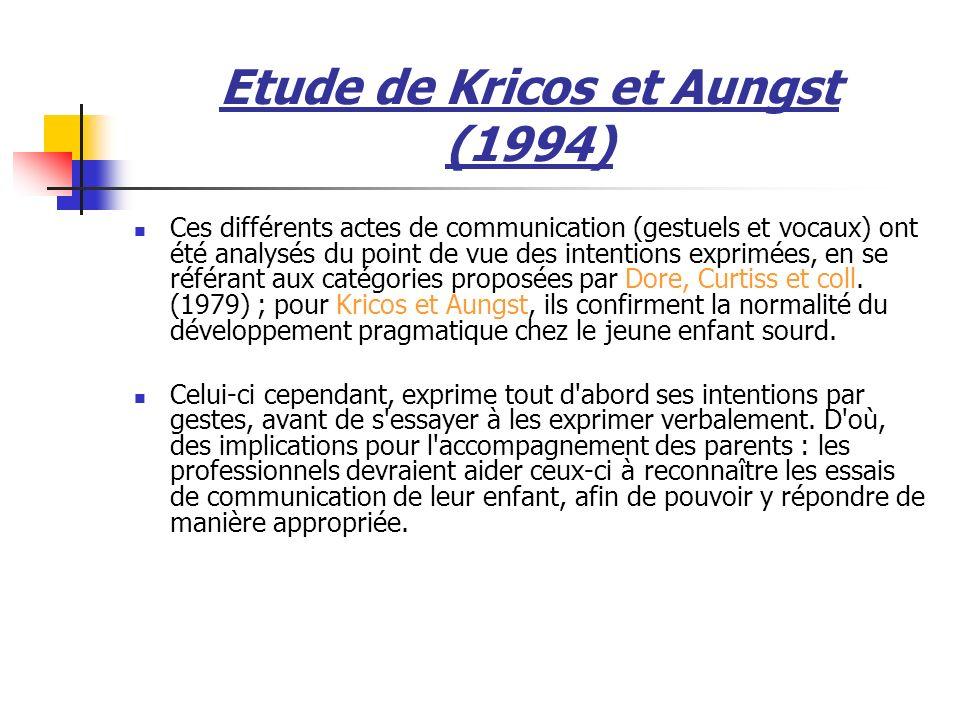 Etude de Kricos et Aungst (1994) Ces différents actes de communication (gestuels et vocaux) ont été analysés du point de vue des intentions exprimées, en se référant aux catégories proposées par Dore, Curtiss et coll.