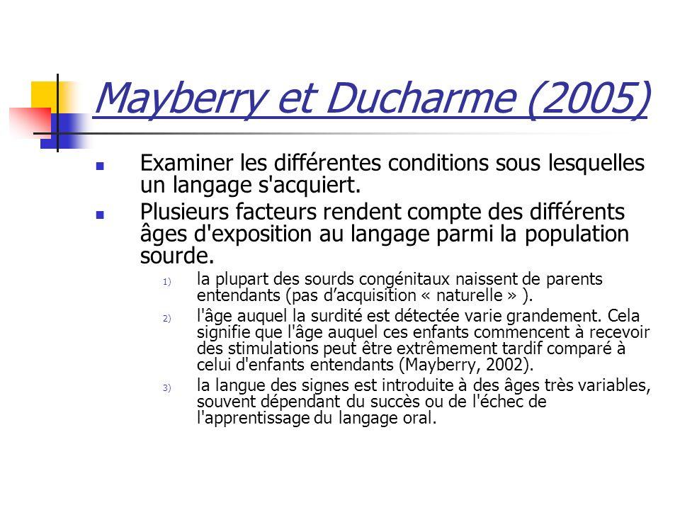 Mayberry et Ducharme (2005) Examiner les différentes conditions sous lesquelles un langage s'acquiert. Plusieurs facteurs rendent compte des différent