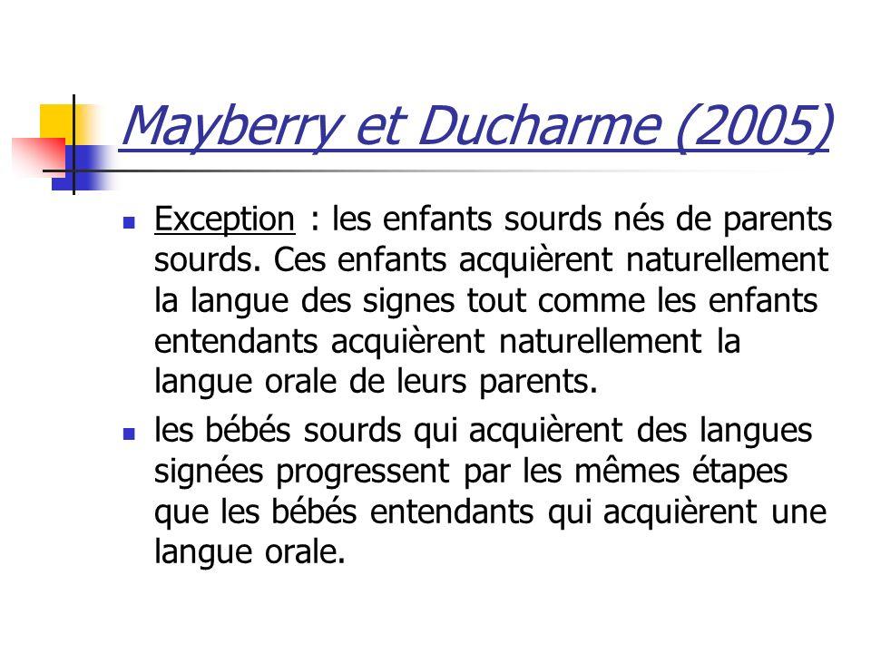 Mayberry et Ducharme (2005) Exception : les enfants sourds nés de parents sourds. Ces enfants acquièrent naturellement la langue des signes tout comme