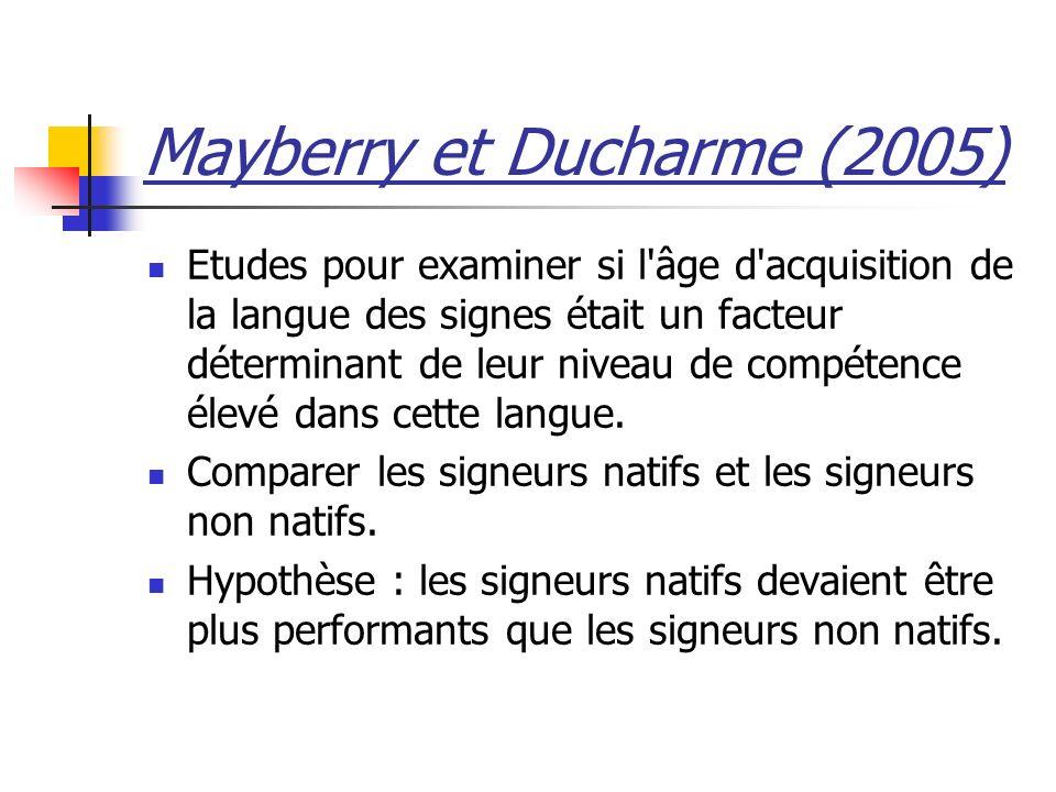 Mayberry et Ducharme (2005) Etudes pour examiner si l âge d acquisition de la langue des signes était un facteur déterminant de leur niveau de compétence élevé dans cette langue.