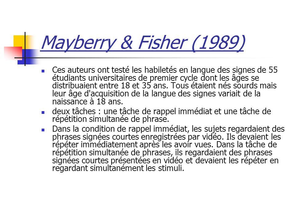 Mayberry & Fisher (1989) Ces auteurs ont testé les habiletés en langue des signes de 55 étudiants universitaires de premier cycle dont les âges se distribuaient entre 18 et 35 ans.