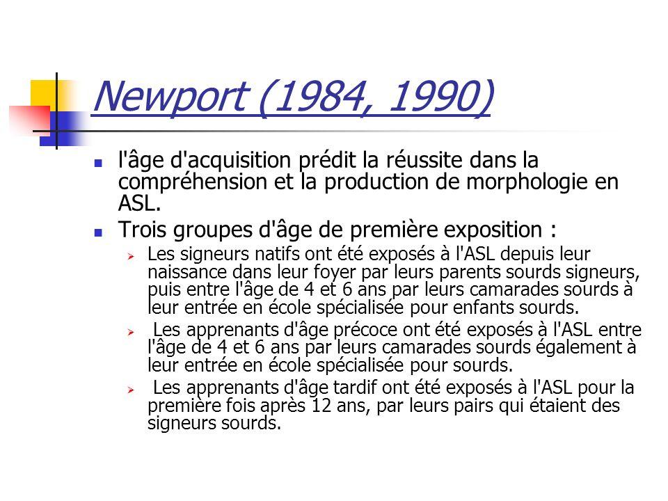 Newport (1984, 1990) l âge d acquisition prédit la réussite dans la compréhension et la production de morphologie en ASL.