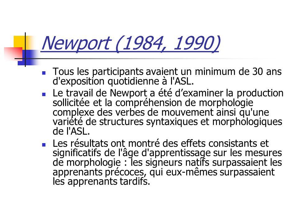 Newport (1984, 1990) Tous les participants avaient un minimum de 30 ans d'exposition quotidienne à l'ASL. Le travail de Newport a été dexaminer la pro