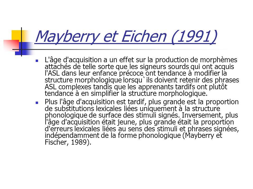 Mayberry et Eichen (1991) L'âge d'acquisition a un effet sur la production de morphèmes attachés de telle sorte que les signeurs sourds qui ont acquis