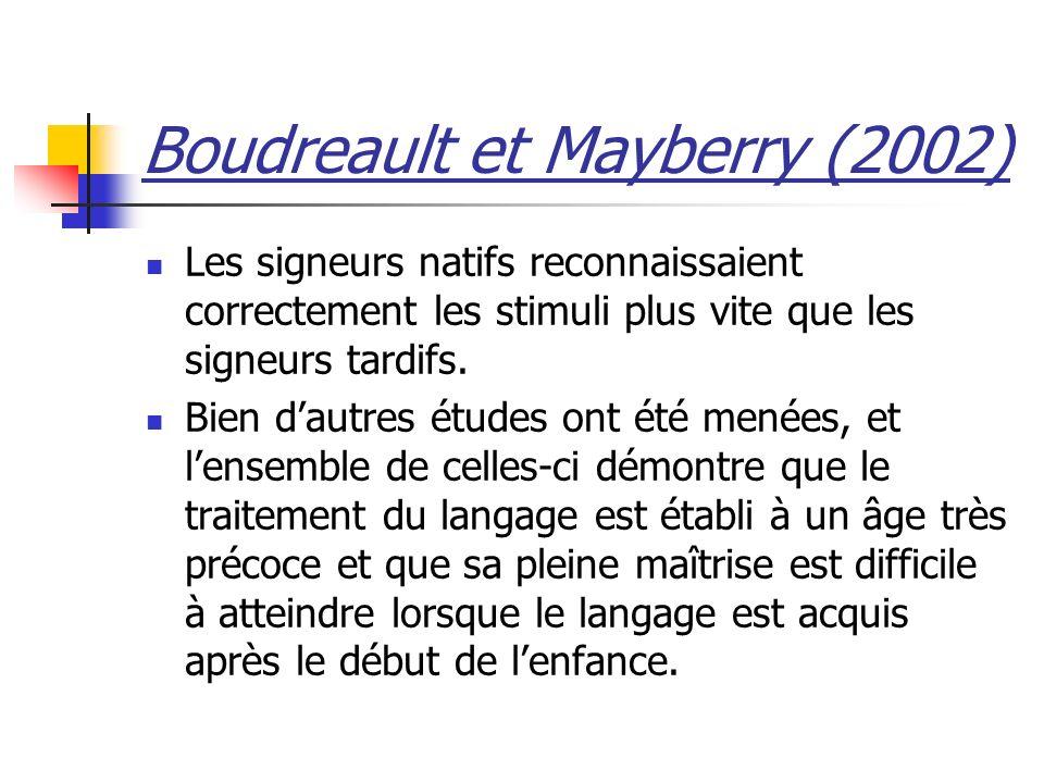 Boudreault et Mayberry (2002) Les signeurs natifs reconnaissaient correctement les stimuli plus vite que les signeurs tardifs.