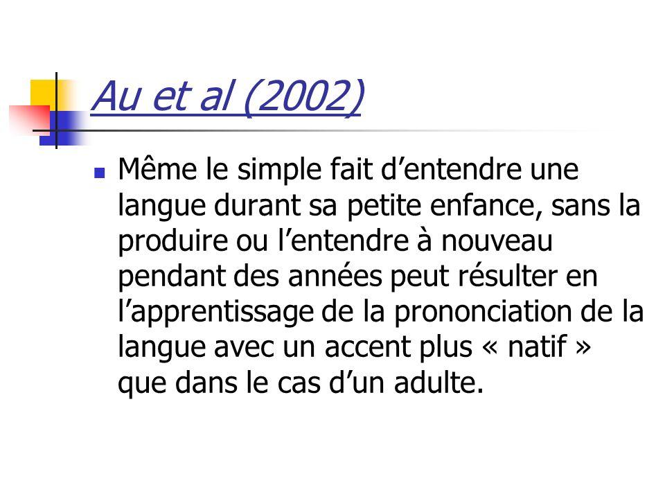 Au et al (2002) Même le simple fait dentendre une langue durant sa petite enfance, sans la produire ou lentendre à nouveau pendant des années peut rés