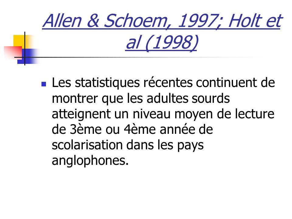 Allen & Schoem, 1997; Holt et al (1998) Les statistiques récentes continuent de montrer que les adultes sourds atteignent un niveau moyen de lecture de 3ème ou 4ème année de scolarisation dans les pays anglophones.