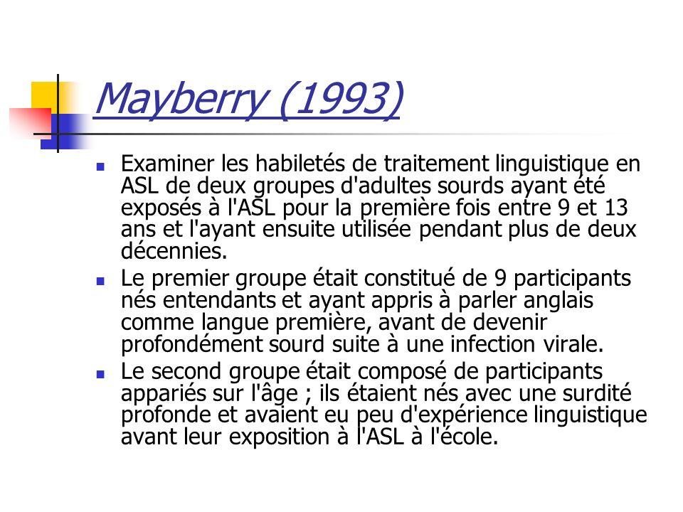 Mayberry (1993) Examiner les habiletés de traitement linguistique en ASL de deux groupes d adultes sourds ayant été exposés à l ASL pour la première fois entre 9 et 13 ans et l ayant ensuite utilisée pendant plus de deux décennies.