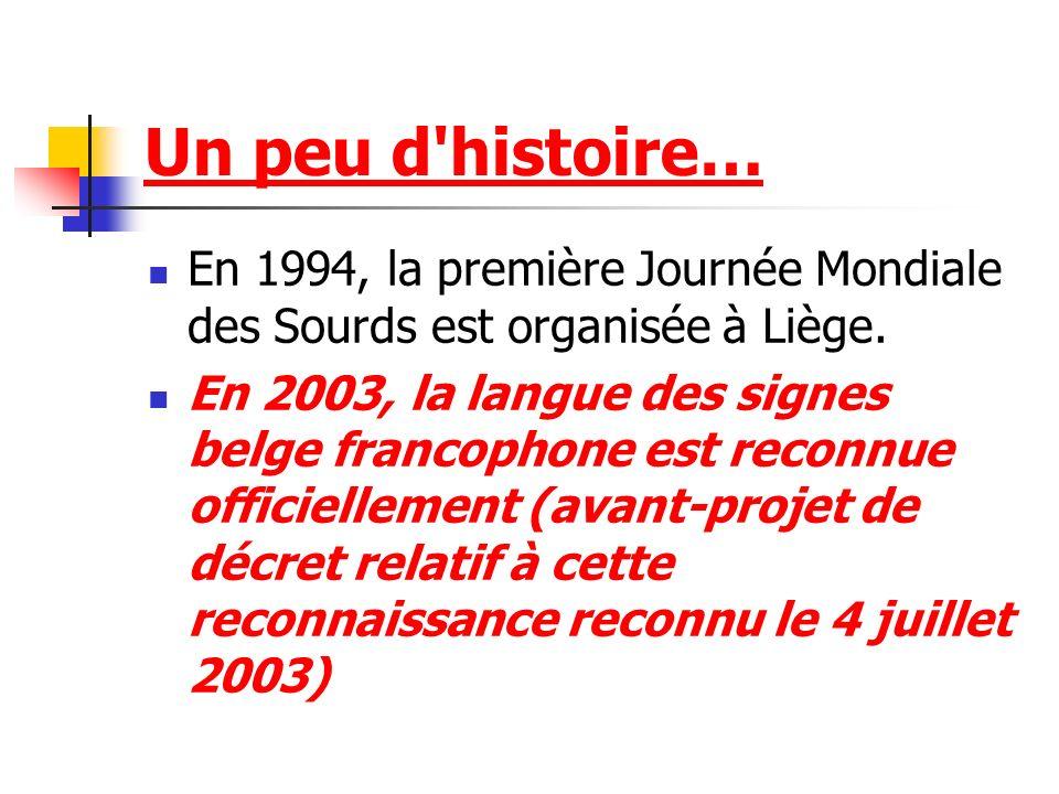 Un peu d'histoire… En 1994, la première Journée Mondiale des Sourds est organisée à Liège. En 2003, la langue des signes belge francophone est reconnu