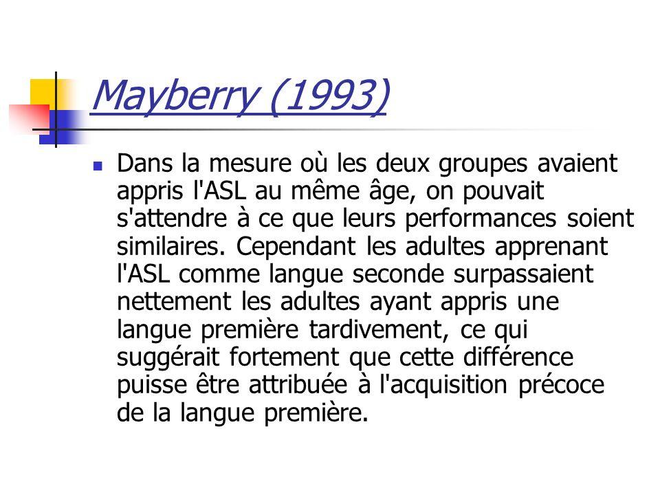 Mayberry (1993) Dans la mesure où les deux groupes avaient appris l'ASL au même âge, on pouvait s'attendre à ce que leurs performances soient similair