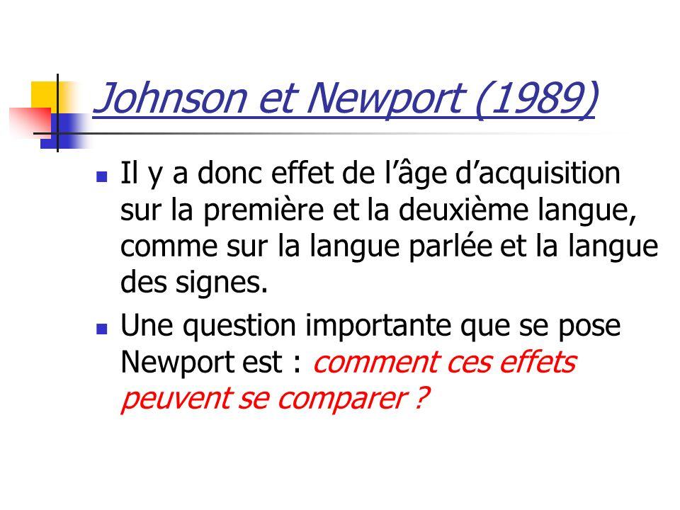 Johnson et Newport (1989) Il y a donc effet de lâge dacquisition sur la première et la deuxième langue, comme sur la langue parlée et la langue des signes.