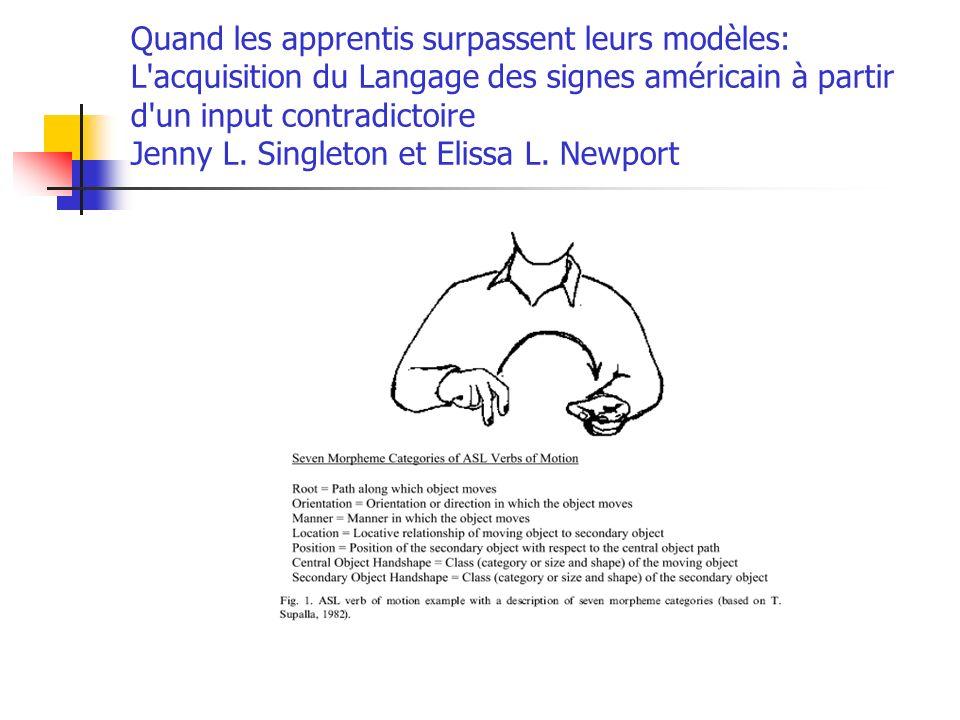 Quand les apprentis surpassent leurs modèles: L'acquisition du Langage des signes américain à partir d'un input contradictoire Jenny L. Singleton et E