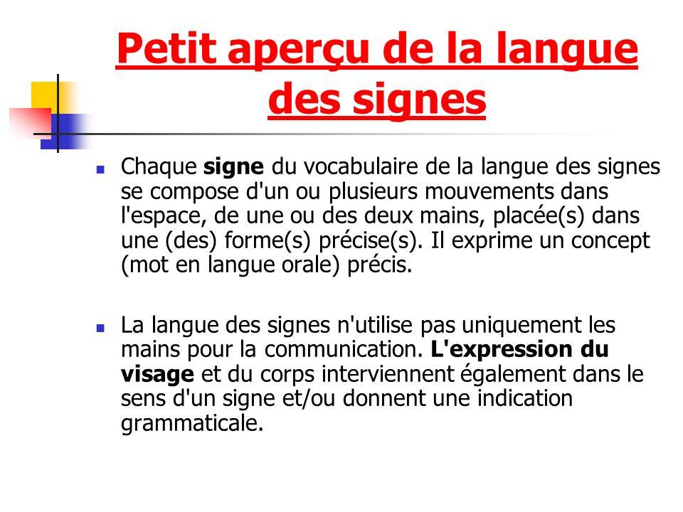 Chaque signe du vocabulaire de la langue des signes se compose d un ou plusieurs mouvements dans l espace, de une ou des deux mains, placée(s) dans une (des) forme(s) précise(s).