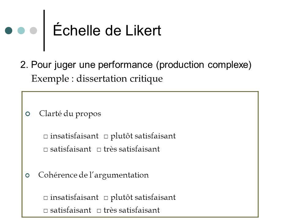 Échelle de Likert 2. Pour juger une performance (production complexe) Exemple : dissertation critique Clarté du propos insatisfaisant plutôt satisfais