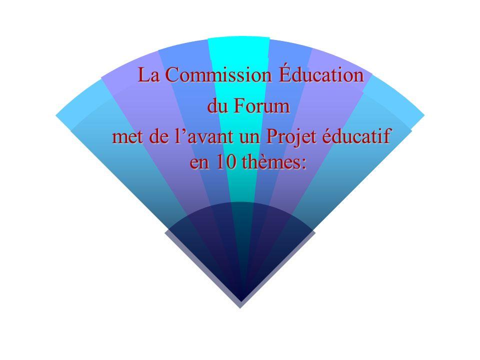 La Commission Éducation La Commission Éducation du Forum met de lavant un Projet éducatif en 10 thèmes: met de lavant un Projet éducatif en 10 thèmes: