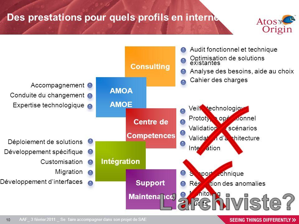 10 AAF_ 3 février 2011 _ Se faire accompagner dans son projet de SAE Consulting AMOA AMOE Centre de Competences Audit fonctionnel et technique Optimis
