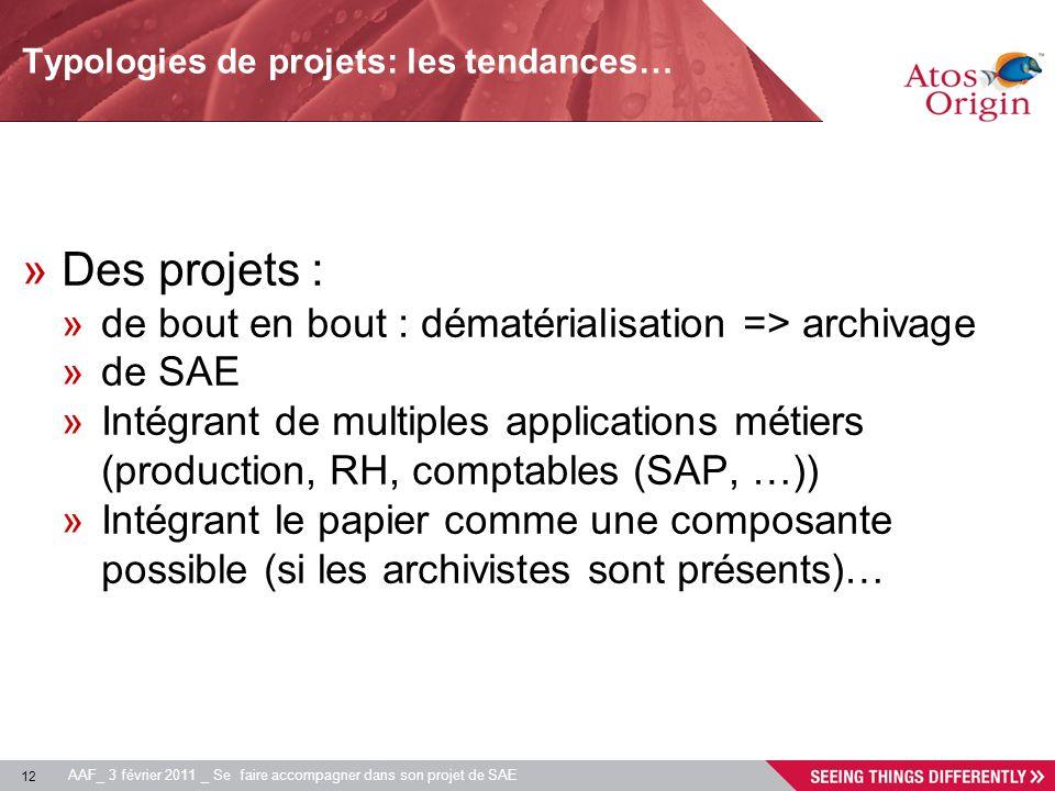 12 AAF_ 3 février 2011 _ Se faire accompagner dans son projet de SAE Typologies de projets: les tendances… »Des projets : »de bout en bout : dématéria