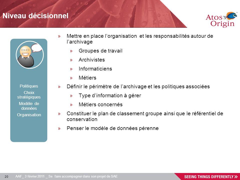 20 AAF_ 3 février 2011 _ Se faire accompagner dans son projet de SAE Niveau décisionnel Politiques Choix stratégiques Modèle de données Organisation »