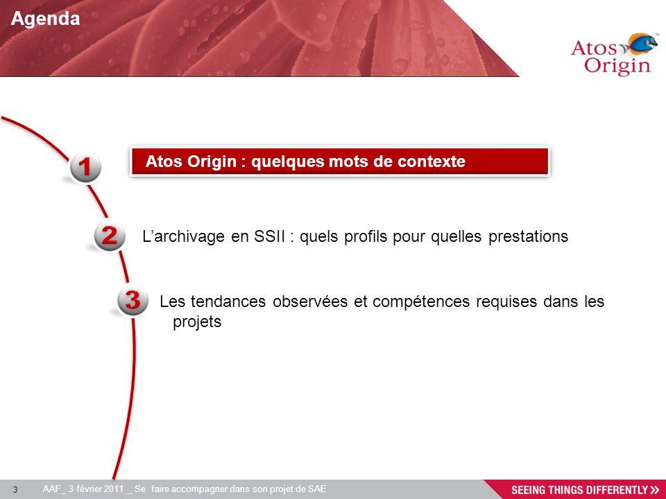 3 AAF_ 3 février 2011 _ Se faire accompagner dans son projet de SAE Agenda Larchivage en SSII : quels profils pour quelles prestations Atos Origin : q