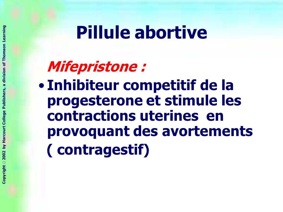 Copyright 2002 by Harcourt College Publishers, a division of Thomson Learning Pillule abortive Mifepristone : Inhibiteur competitif de la progesterone et stimule les contractions uterines en provoquant des avortements ( contragestif)