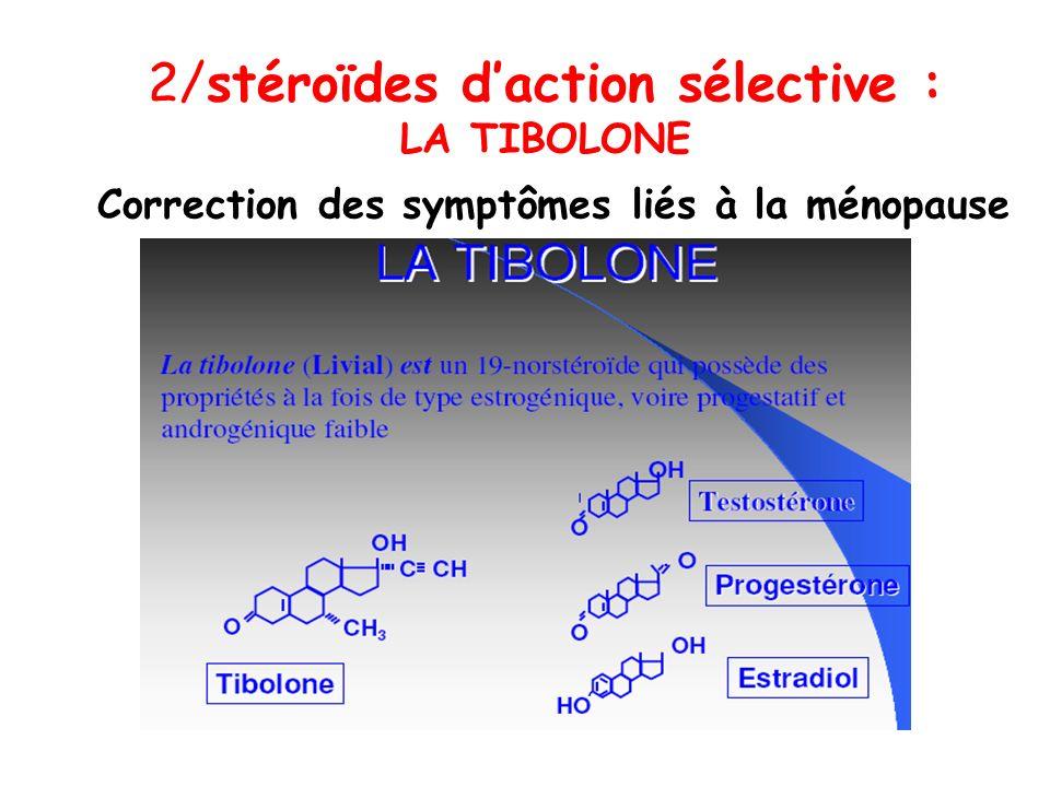 2/stéroïdes daction sélective : LA TIBOLONE Correction des symptômes liés à la ménopause