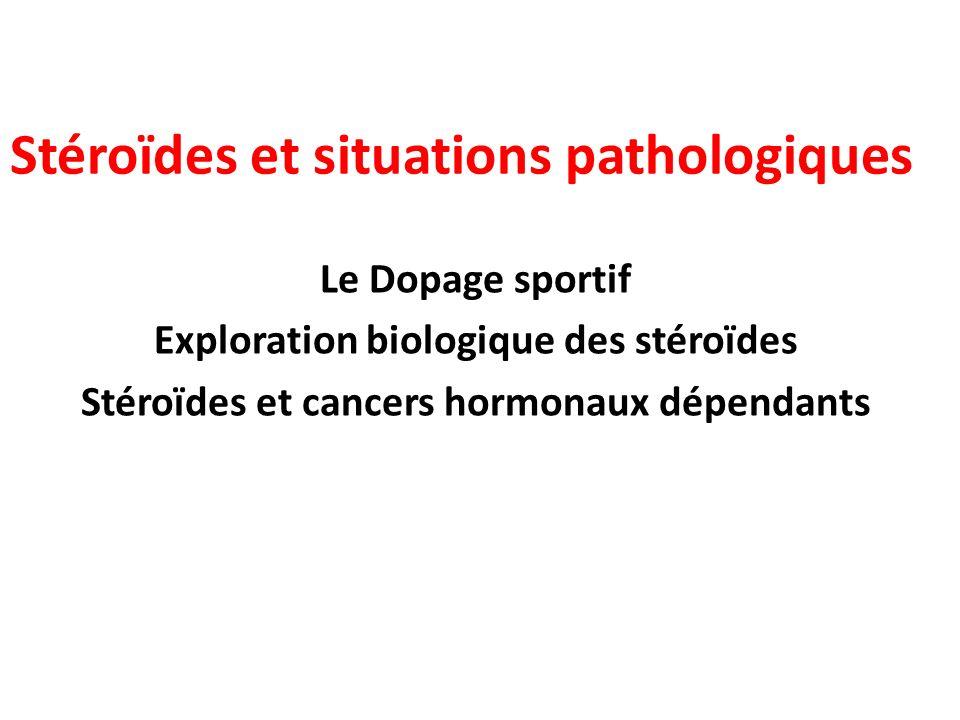 Stéroïdes et situations pathologiques Le Dopage sportif Exploration biologique des stéroïdes Stéroïdes et cancers hormonaux dépendants