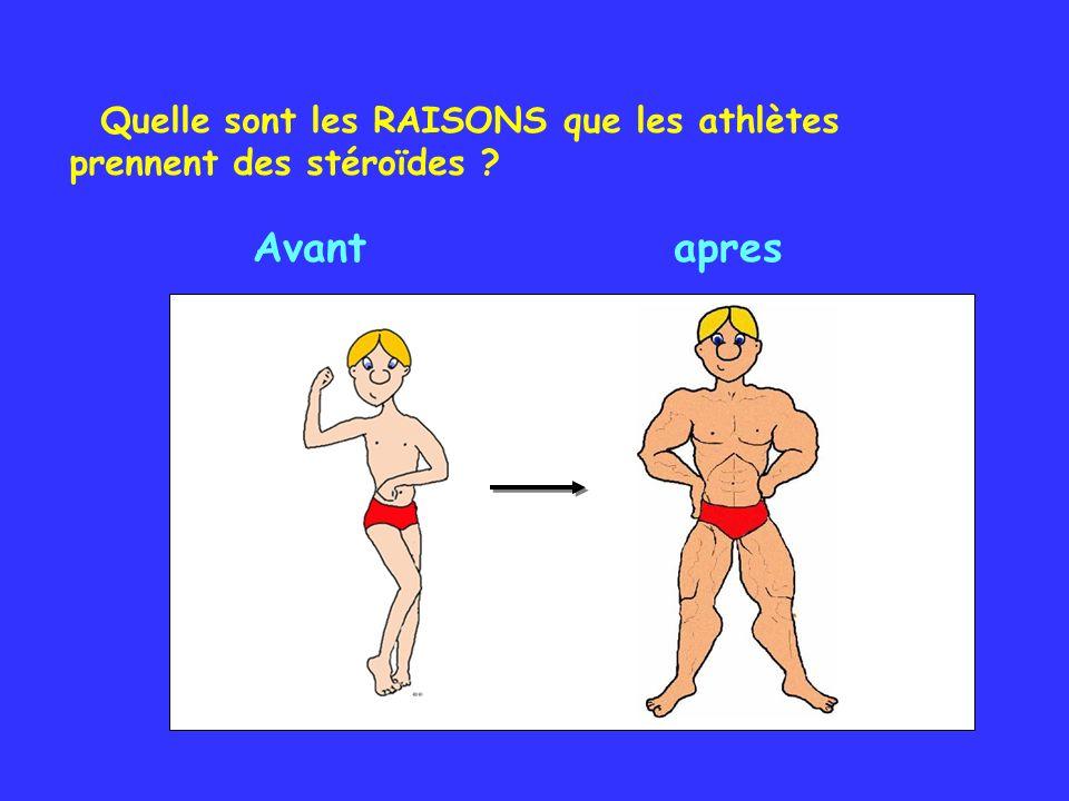 Avant apres Quelle sont les RAISONS que les athlètes prennent des stéroïdes ?