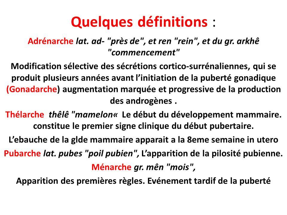 Quelques définitions : Adrénarche lat.ad- près de , et ren rein , et du gr.