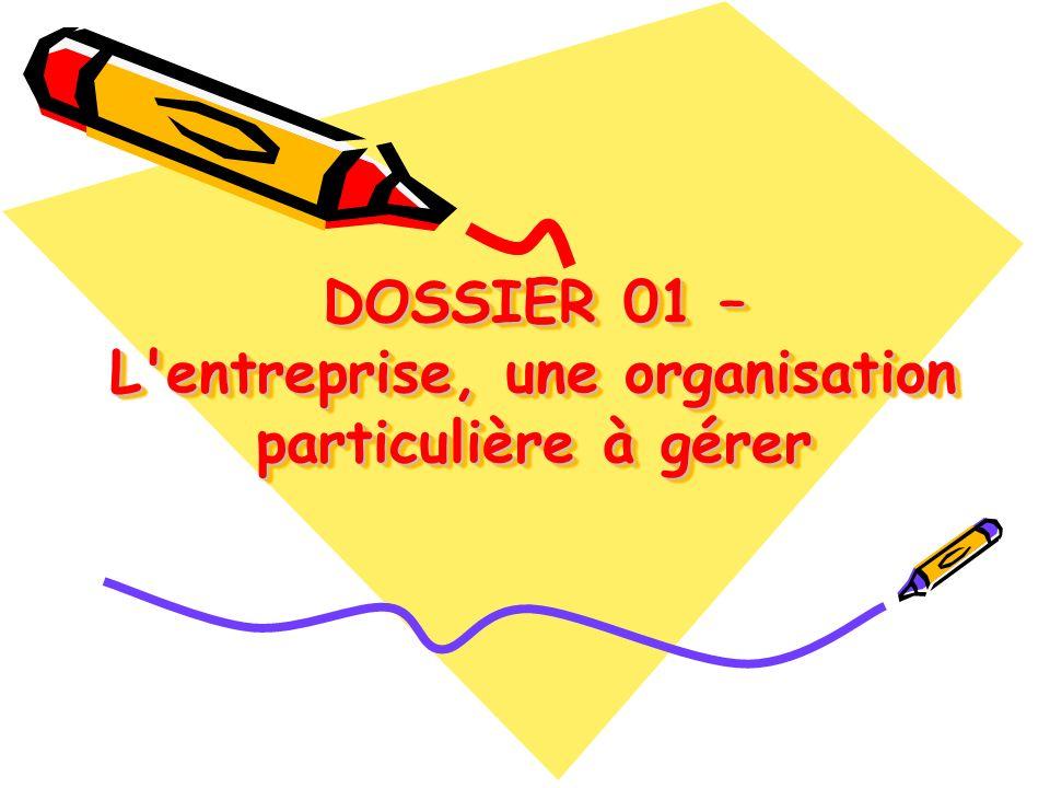 DOSSIER 01 – L'entreprise, une organisation particulière à gérer DOSSIER 01 – L'entreprise, une organisation particulière à gérer