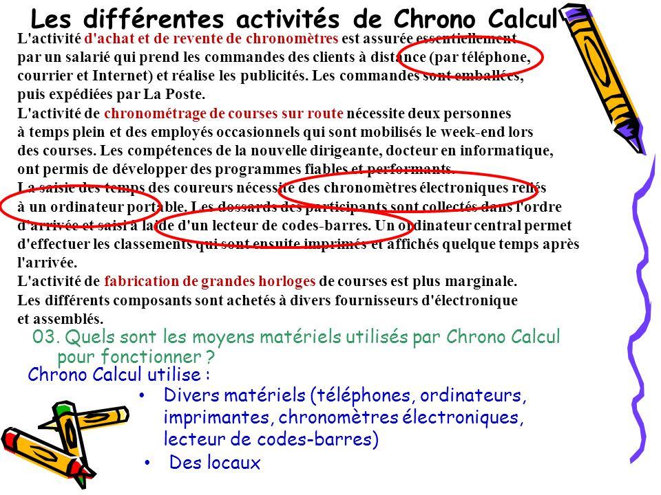 03. Quels sont les moyens matériels utilisés par Chrono Calcul pour fonctionner ? L'activité d'achat et de revente de chronomètres est assurée essenti