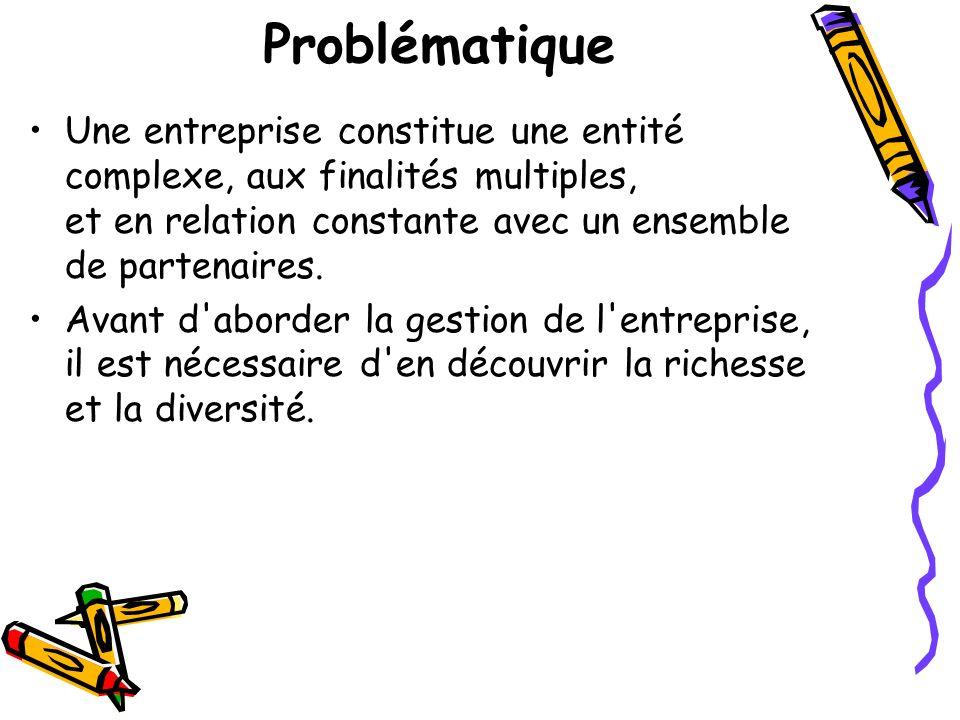 Problématique Une entreprise constitue une entité complexe, aux finalités multiples, et en relation constante avec un ensemble de partenaires. Avant d