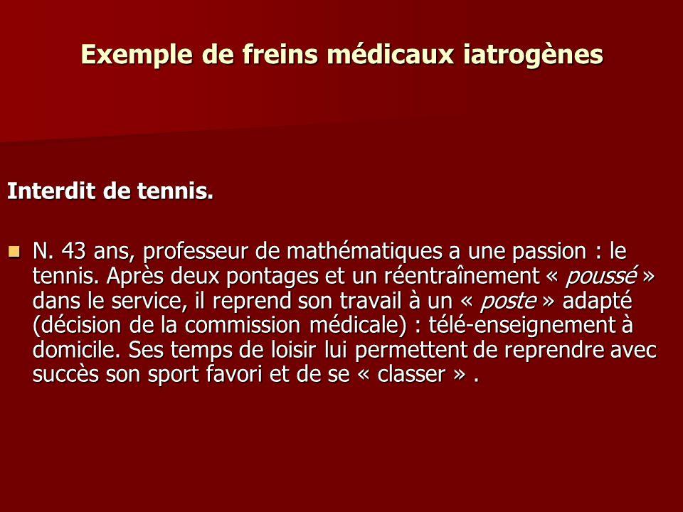 Exemple de freins médicaux iatrogènes Interdit de tennis. N. 43 ans, professeur de mathématiques a une passion : le tennis. Après deux pontages et un