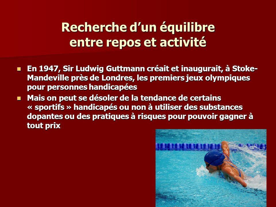 Recherche dun équilibre entre repos et activité En 1947, Sir Ludwig Guttmann créait et inaugurait, à Stoke- Mandeville près de Londres, les premiers j