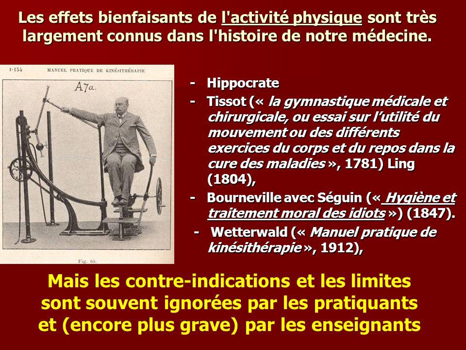 Les effets bienfaisants de l'activité physique sont très largement connus dans l'histoire de notre médecine. - Hippocrate - Tissot (« la gymnastique m