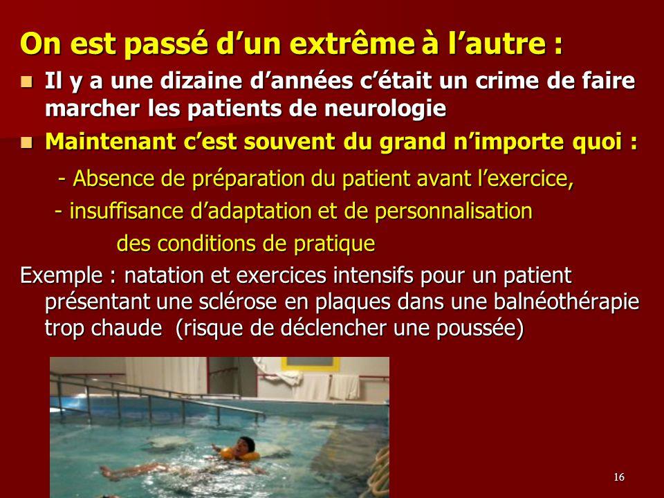 On est passé dun extrême à lautre : Il y a une dizaine dannées cétait un crime de faire marcher les patients de neurologie Il y a une dizaine dannées