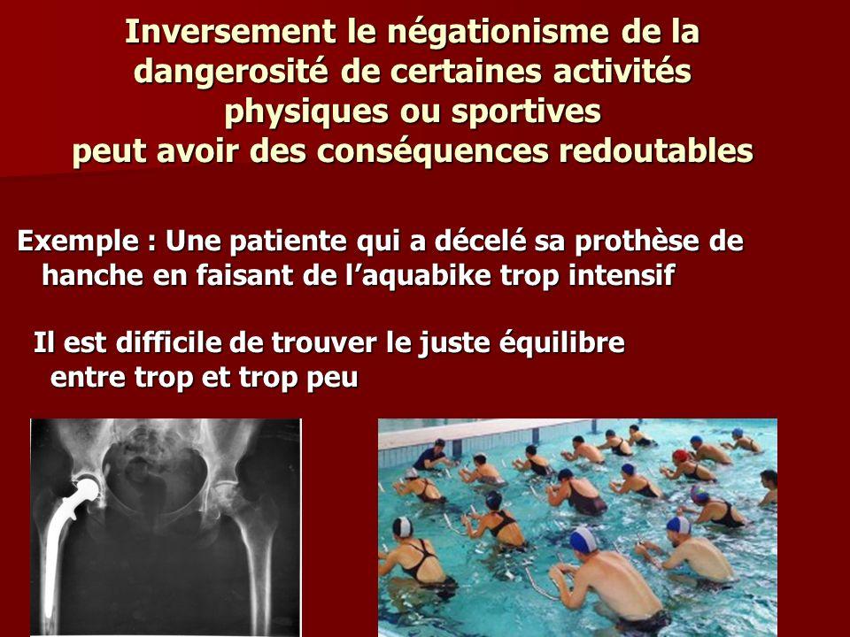 Inversement le négationisme de la dangerosité de certaines activités physiques ou sportives peut avoir des conséquences redoutables Exemple : Une pati