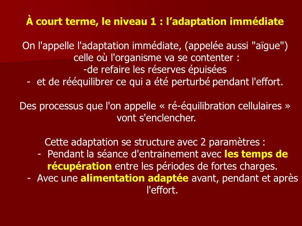 À court terme, le niveau 1 : ladaptation immédiate On l'appelle l'adaptation immédiate, (appelée aussi