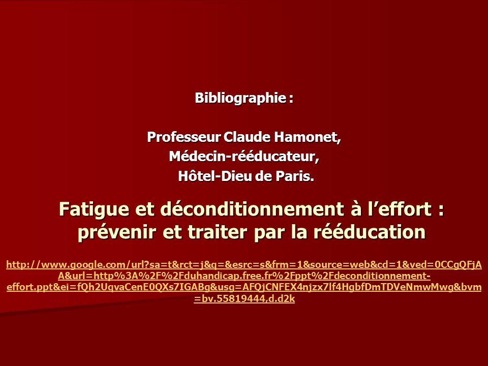 Fatigue et déconditionnement à leffort : prévenir et traiter par la rééducation Bibliographie : Professeur Claude Hamonet, Médecin-rééducateur, Hôtel-