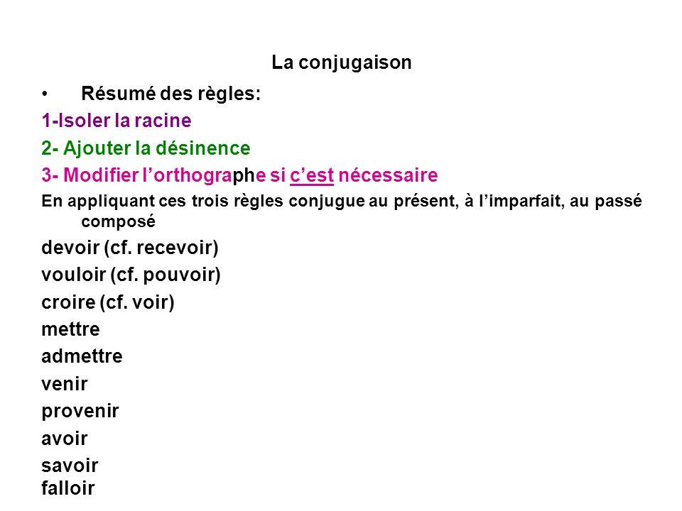La conjugaison Résumé des règles: 1-Isoler la racine 2- Ajouter la désinence 3- Modifier lorthographe si cest nécessaire En appliquant ces trois règle