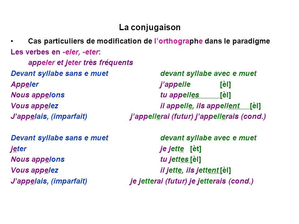 La conjugaison Cas particuliers de modification de lorthographe dans le paradigme Les verbes en -eler, -eter: appeler et jeter très fréquents Devant s